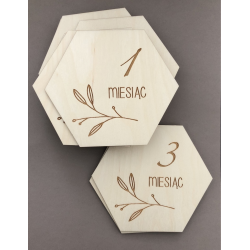 "Wooden plaques for session : ""The first 12 months"" hexagon."