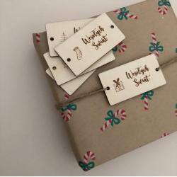 Drewniane bileciki do prezentów - 6 sztuk