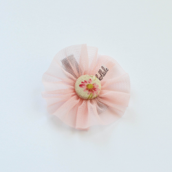 Kollale - hair clip meadow tulle pink flower.
