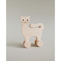 Piesek - drewniana zabawka na kółkach