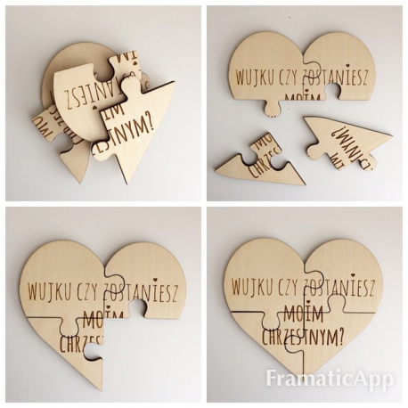 "Wooden puzzle "" Would you be my Godmother ? ""."