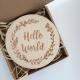 """Drewniana plakietka """"Hello world"""""""