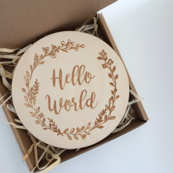 "Wooden plaque for session ""Hello world"""