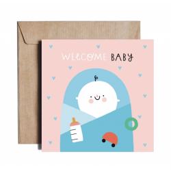 Kartka okolicznościowa z okazji narodzin dziecka NEW ARRIVAL BOY