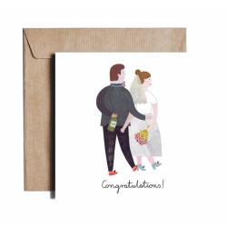 Kartka okolicznościowa z okazji ślubu GROOM AND BRIDE