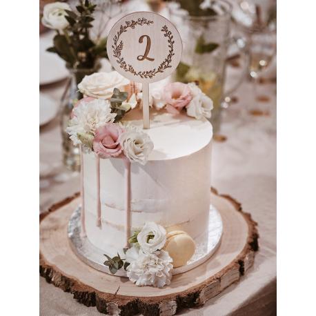 Drewniany topper na tort z cyfrą