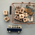 Set of 12 wooden blocks.